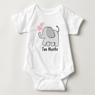Gingham Elephant Two Months Baby Bodysuit