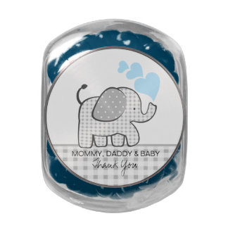 Gingham Elephant with Baby Blue Hearts