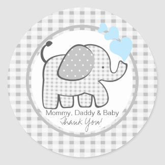 Gingham Elephant with Blue Hearts Round Sticker
