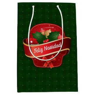 Gingham Feliz Navidad Medium Gift Bag