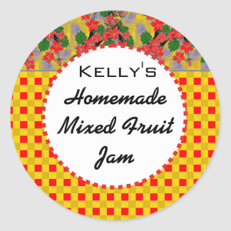 Gingham floral mixed fruit jam label