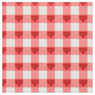 Gingham Hearts Fabric
