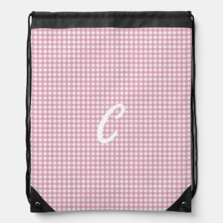 Gingham in Pink Drawstring Bag