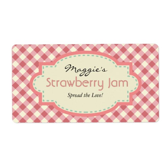 Gingham Jam Jar Labels, Customize