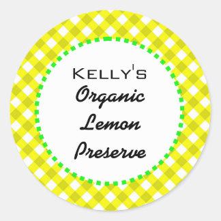 Gingham lemon preserves label