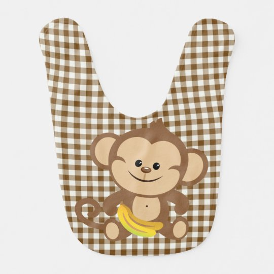 Gingham Monkey With Banana Bib