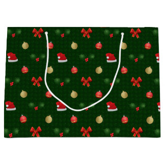 Gingham Navidad Ornaments Large Gift Bag