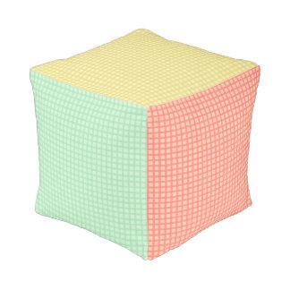 Gingham Pattern Cube Pouf Pillow
