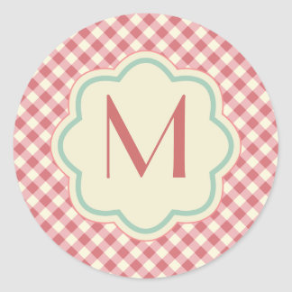 Gingham Pattern Monogram Mauve Pink Green Stickers