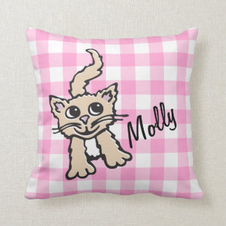 Gingham patterned cat pink & white throw pillow