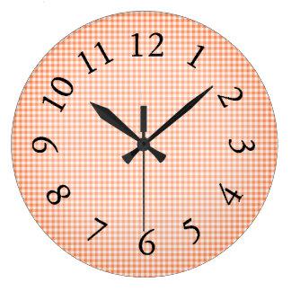 Gingham_Peach-Sangria_ Large Clock