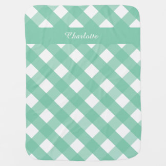 Gingham Personalized Baby Blanket Green