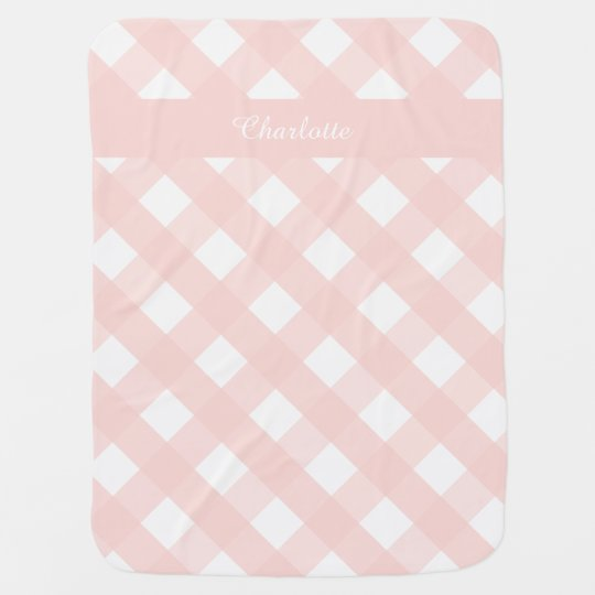 Gingham Personalized Baby Blanket Pink
