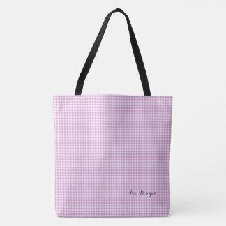 Gingham_Pink_ LG _Multi-Sizes Tote Bag