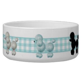 Gingham Poodle Dog Bowl