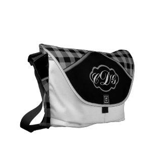 Gingham Print Black - White Messenger Backpack Bag Commuter Bag