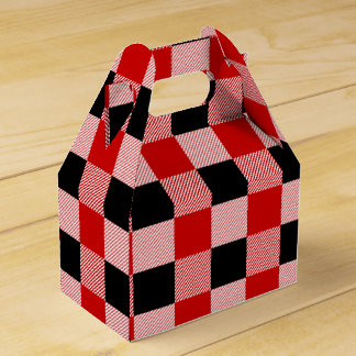 Gingham Red And Black Checks Plaid Party Wedding Favor Box