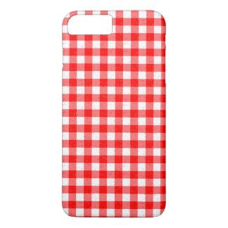 Gingham Red and White Pattern iPhone 7 Plus Case