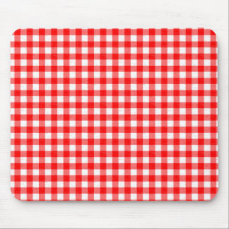 Gingham Red and White Pattern Mouse Pad