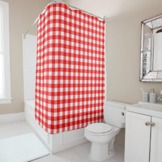 Gingham Red and White Pattern Shower Curtain