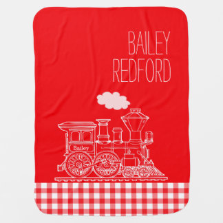 Gingham red boys name white train baby blanket