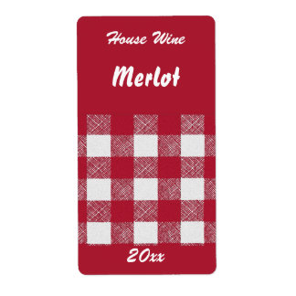 Gingham red house wine label shipping label