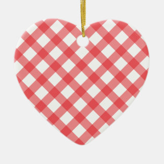 Gingham Red Pattern Ceramic Ornament