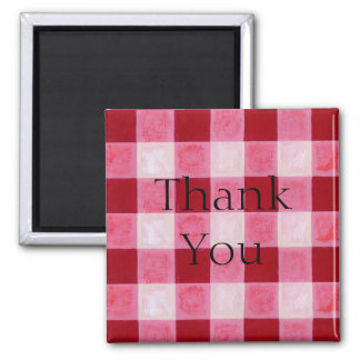 Gingham Red Thank You Magnet