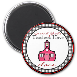 Gingham Second Grade Teacher Magnet