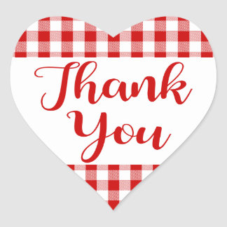 Gingham Thank You Red And White Check Plaid Heart Heart Sticker