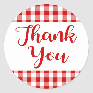 Gingham Thank You Red And White Check Plaid Round Sticker