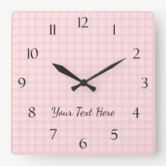 Gingham Wall Clock with Numbers