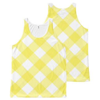 Gingham yellow Check Plaid Unisex Tank