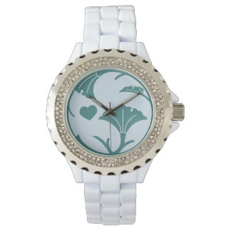 Gingko Crest Watch - White with Rhinestones