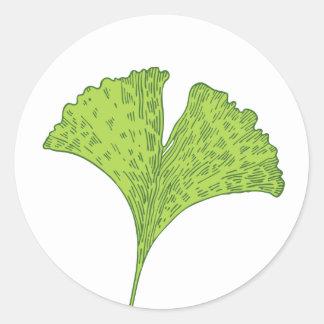 Gingko Leaf Classic Round Sticker