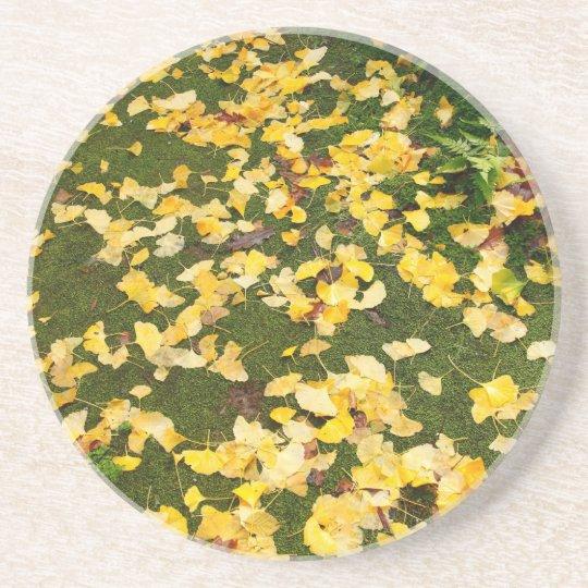 Ginkgo biloba leaves coaster
