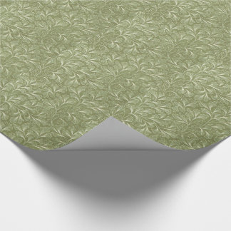 Ginkgo biloba Leaves on Sage Green Wrapping Paper