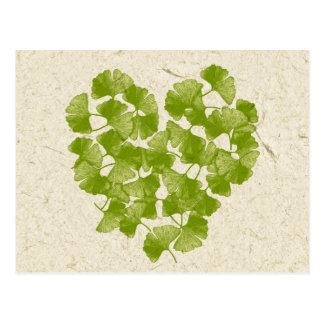 Ginkgo Leaf Heart Postcard