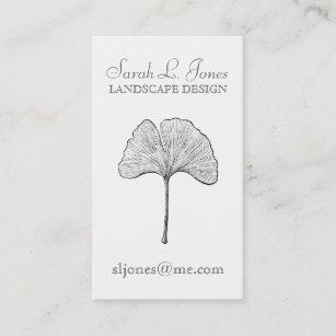 Ginkgo Leaf Simple Elegant Natural Business Card