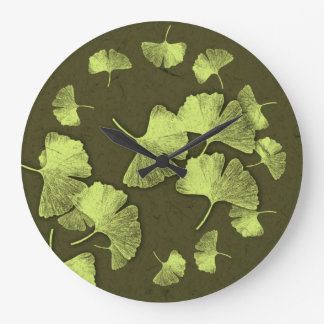 Ginkgo Leaves Large Clock