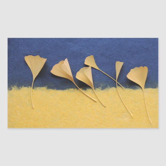ginkgo leaves on handmade paper rectangle stickers