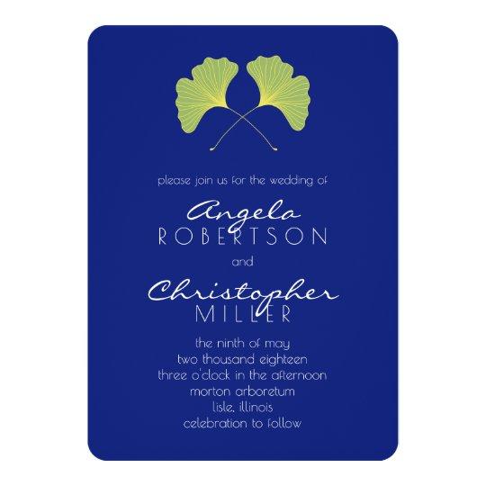 Ginkgo Spring Green Leaves Wedding Card