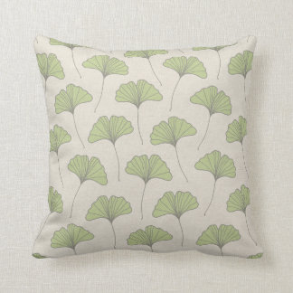 Ginkgo Tree Leaf Pattern Green on Canvas Look Throw Pillow
