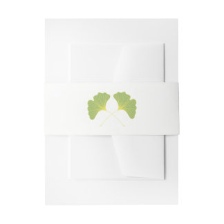 Ginkgo Tree Leaves Spring Green Invitation Belly Band