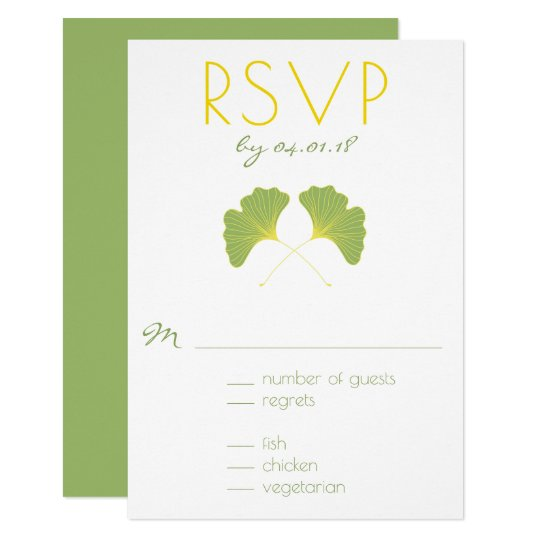 Ginkgo Tree Spring Green RSVP 2 Card