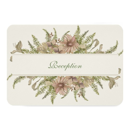Ginkgo Watercolor Floral Wedding Reception Card