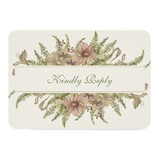Ginkgo Watercolor Floral Wedding RSVP Card