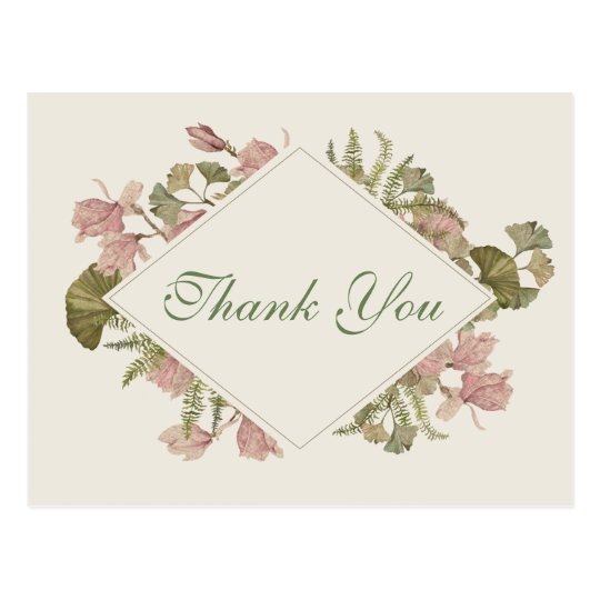Ginkgo Watercolor Floral Wedding Thank You Postcard