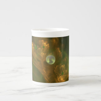 Ginko Leaf with Pearl Fractal China Teacup Tea Cup