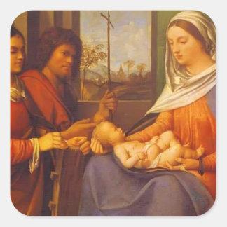 Giorgione- Sacred conversation Square Sticker